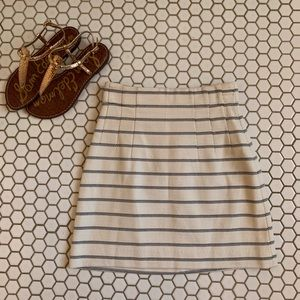 H&M Cream and Blue Striped Skirt Size 2 XS